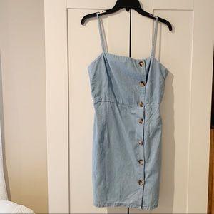denim front button dress